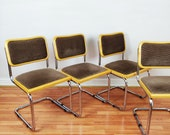 Set of 4 Mid Century Cesca Style Dining Chairs, Vintage Retro Velvet Chairs 1970s