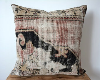 Antique Persia Doroksh Vintage Aesthetic Decorative Throw Pillow Colorful Dusty Blue Gray Red Tan Pattern 14x14 16x16 18x18 20x20 Inch Sets