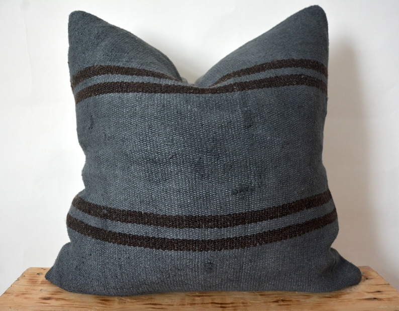 20 X 20 Inc Vintage Cushion Boho Pillow Couch Pillow PE-738 Decorative Pillow Striped Dark Gray Hemp Pillow Throw Pillow