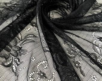 Black elastic delicate lace lace fabric stretch fabric