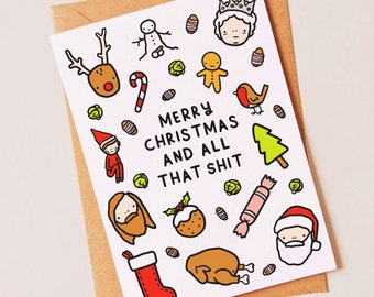 Funny Christmas holiday card or cards for a work friend, best friend, brother, sister, mum or dad