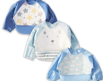 Wegreeco Baby Long Sleeve Bib with Pocket Washable Baby Shirt Bibs Toddler Leak-Free Bibs with Sleeves 6-24 Months