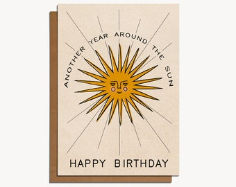 Another Year Around the Sun Happy Birthday Bohemian Style greetings card, A6