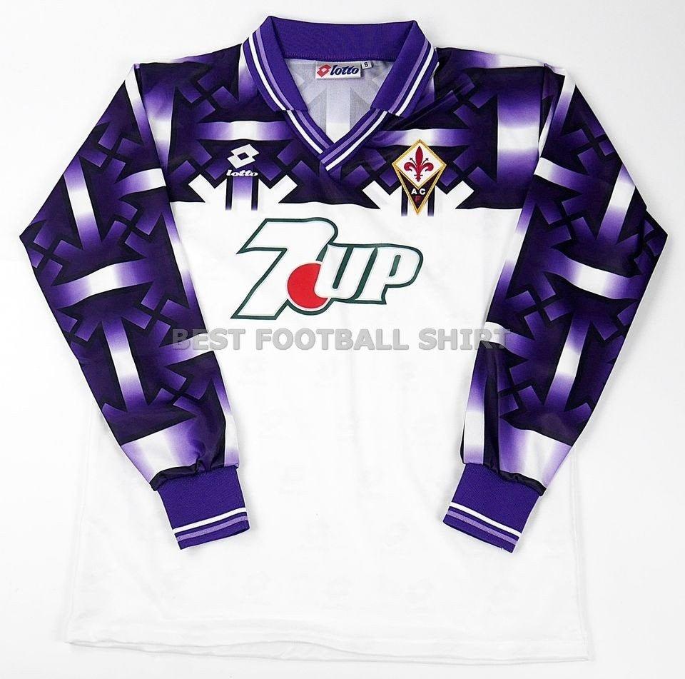 Fiorentina 1992-1993 Away 7UP Long Sleeve Soccer Jersey Football Shirt Trikot S M L XL