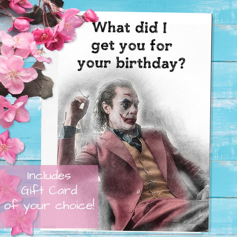 the joker joaquin phoenix greeting card gift card included
