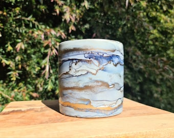 Handpainted Cylinder Pot - Storm