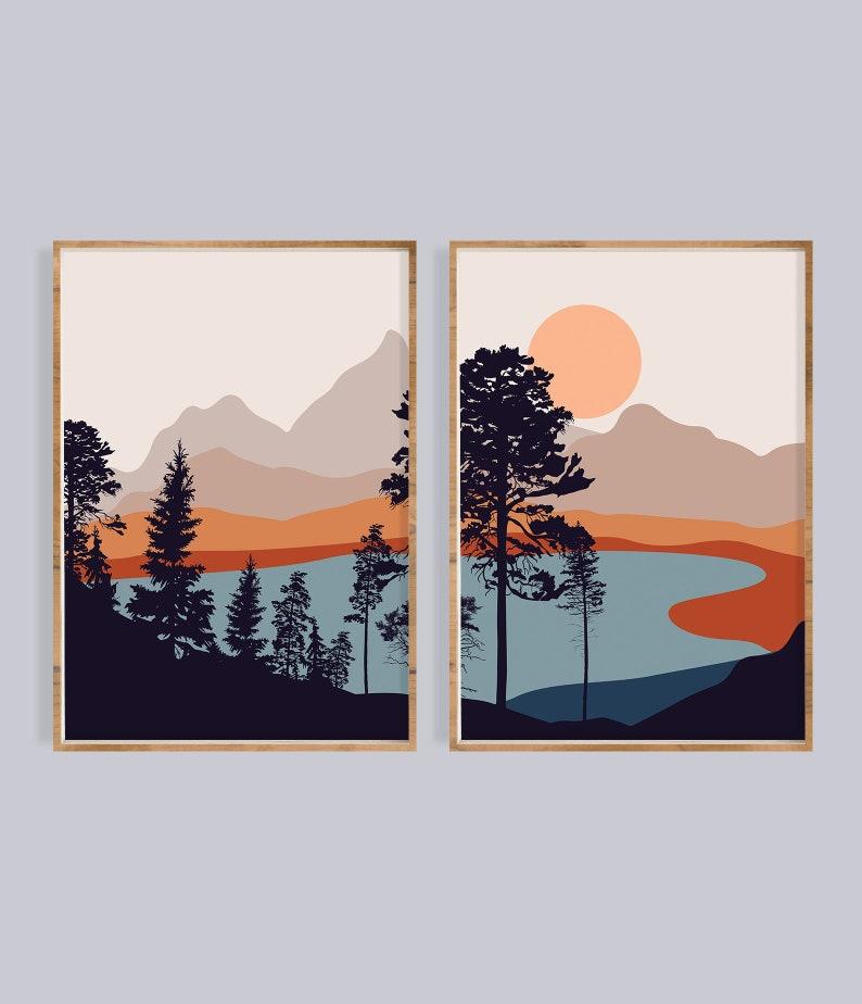 Mid century modern art print set of 2 landscape Sun mountain image 0