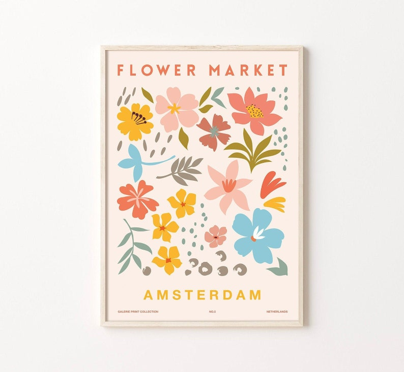 Flower Market Poster Flower Market Prints Amsterdam Digital image 1