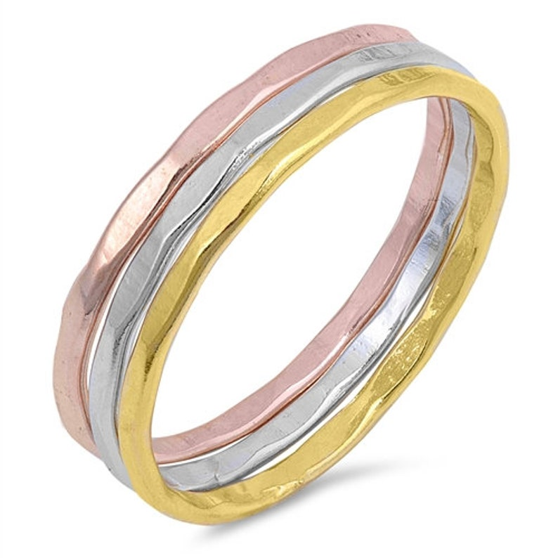 925 Sterling Silver Band Set Delicate Rings Gift for Her Women/'s Rings Tri Tone Hammered Band Set Set of Hammered Rings