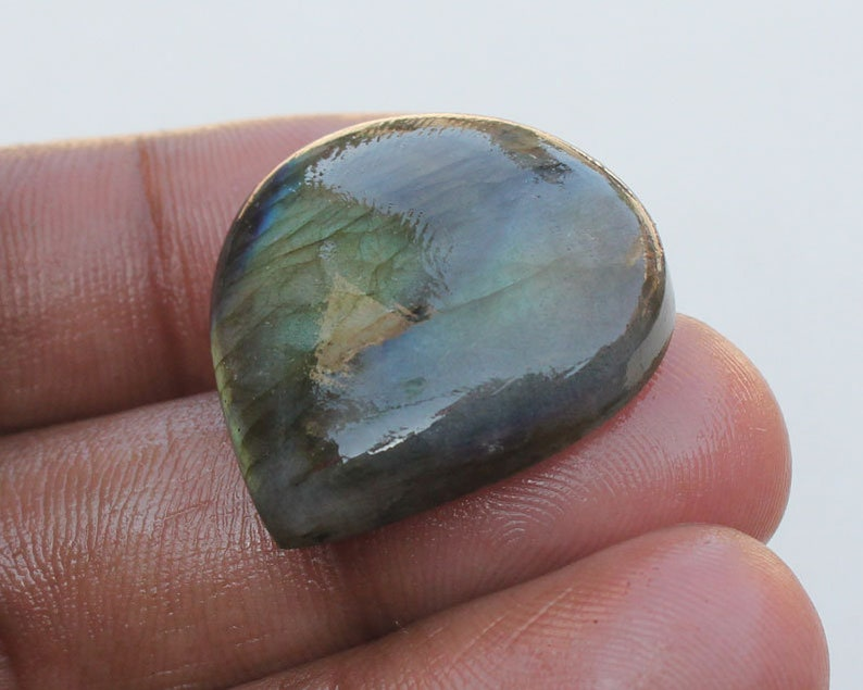Loose Stone Jewelry Labradorite Labradorite 26X27X7.5 MM Splendid Labradorite Pear Shape Cabochon Gemstone Smooth Hand polish Gemstone