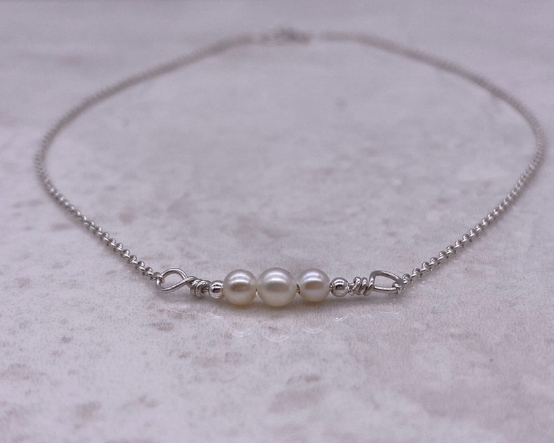 layer 925 Sterling silver bridal necklace AAA grade tiny white freshwater pearl bar necklace choker wedding jewellery bridesmaid