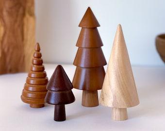 Whimsical Wooden Trees, Set of 4, Wooden Mid Century Decor, Mantel Decor, Wooden Shelf Decor, Cabin Decor, Rustic Home Decor