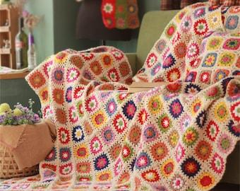 Granny Square Daisy Crochet Blanket