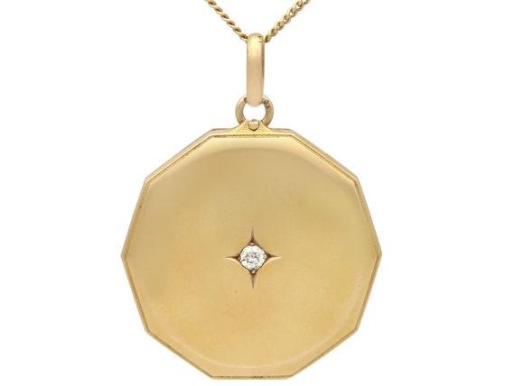 Diamond and 14 ct Yellow Gold Locket Pendant - Ant