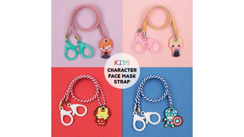 Kids CHARACTER Face Mask LanyardHolder Colorful StrapChain