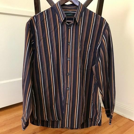 Vintage Canali Caramel-striped Italian Dress Shirt