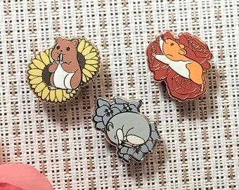 Enamel Pin: Hamsters and Flowers