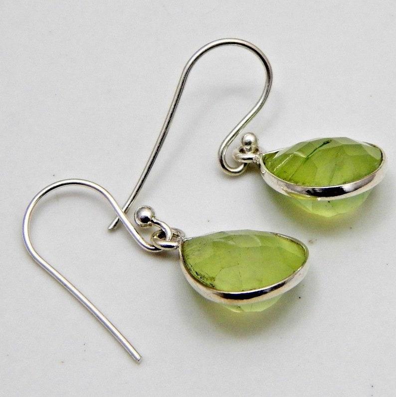 Teardrop Beautiful Earring For Women Earring 925 Sterling Silver Earring Pear Cut Stone Earring Amazing Prehnite Boho Silver Earring
