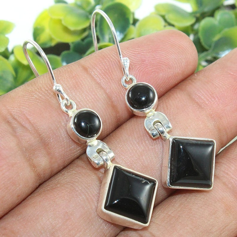 Black Onyx Earring Two Stone Earring Valentine Day Gift For Her Bride Earring 925 Sterling Silver Earring Wedding Gift Earring