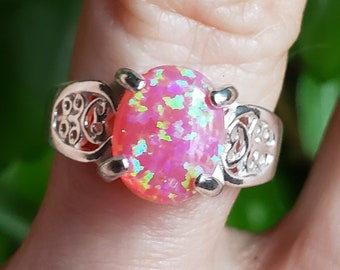 Adjustable Size Fire and Flash with This Lab Stone 8x10mm Hot Pink Fire Opal Heart Design Sterling Ring
