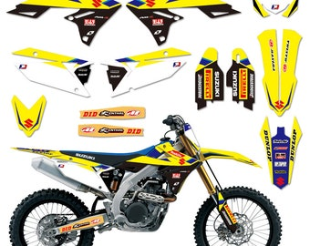 For Suzuki RMZ250 2010-2014 Custom Racing Team Number Plate Stickers Decals Kit