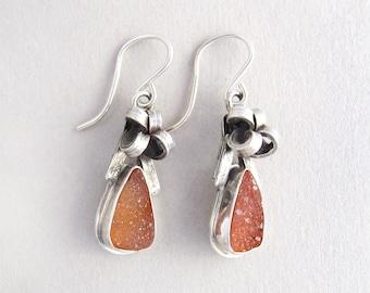 Peach Druzy Bows Earrings