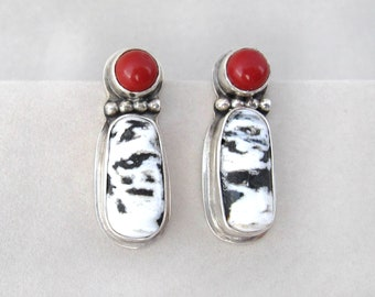 White Buffalo Turquoise / Coral Earrings
