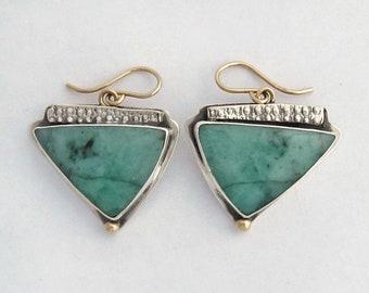 Emerald Triangle Earrings