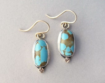 Number Eight turquoise  Oval Earrings