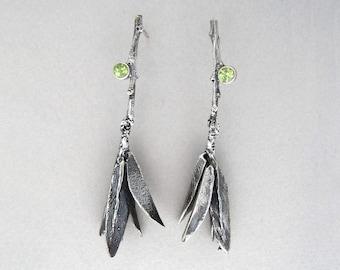 Leaves w/Peridot Earrings