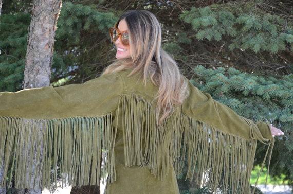 OLIVE GREEN suede long fringe jacket