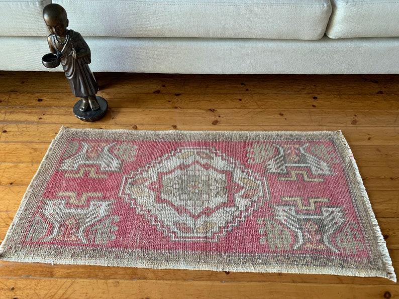 Floor Rug Ethnic Rug 1.6 X 3.3 ft Oriental Rug Small Rug Handmade Rug Decorative Rug Home Decor Vintage Turkish Rug