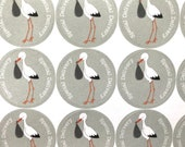 Cute Baby Shower Stork Sticker Sheet 24pc Special Delivery stickers for stationery, thank you, and invites Matte Sticker Sheet