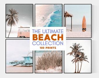 Set of 100 Beach Wall Art Prints, Beach Posters, Surfing Posters, California Prints, Coastal Print, Beach Prints, Ocean Art, Tropical Vibes