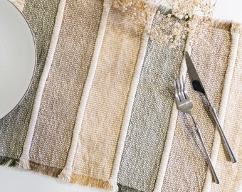 """Handwoven, handmade shades of forest cotton linen placemat (set of 2) 13""""x19"""". Boho table mat, striped green mustard natural table linen"""