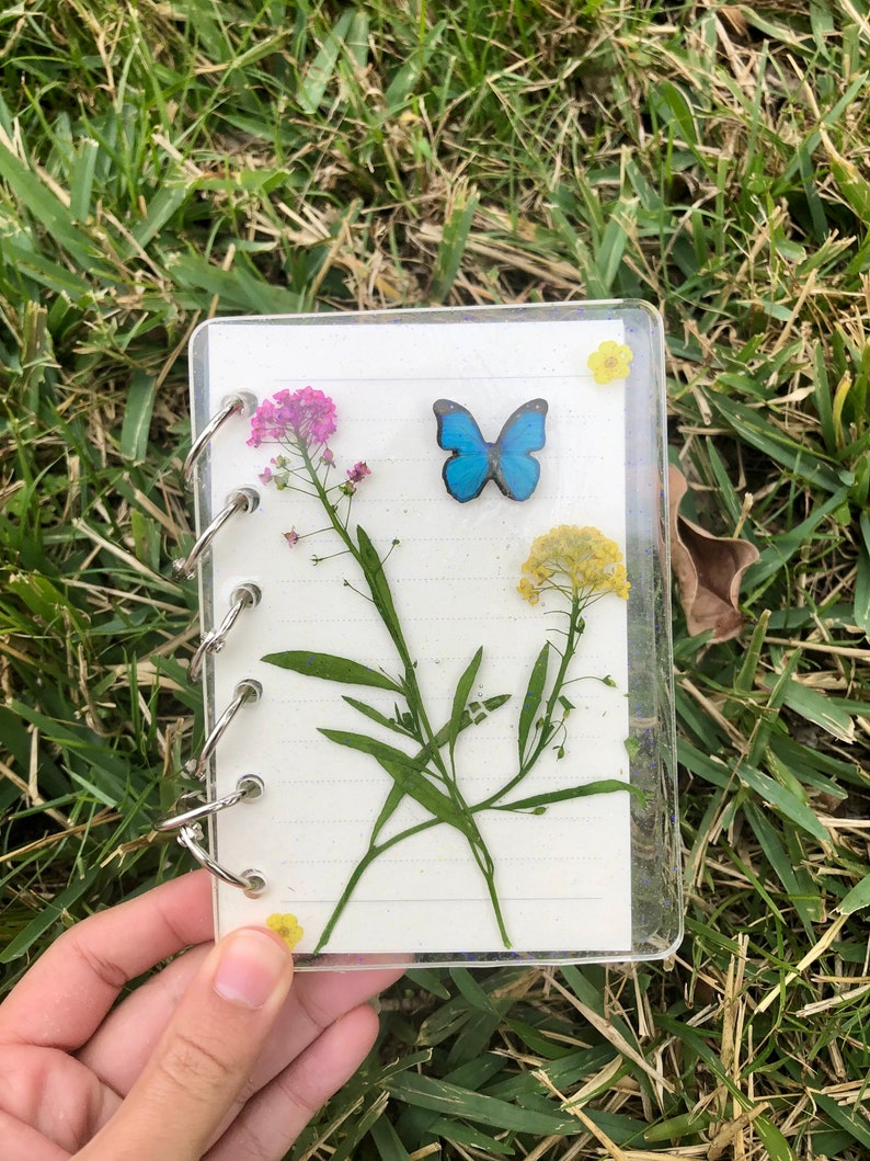 Butterfly and Flowers Handmade Resin Notebook