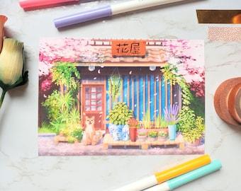 Shiba Inu Japanese postcard print aesthetic office house warming decor kawaii wall art dog art flower shop poster