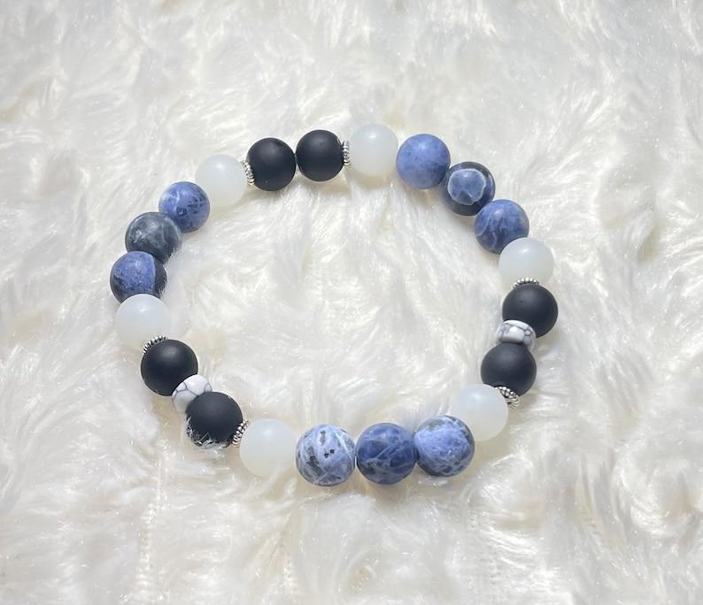 black and white bracelet Matte blue