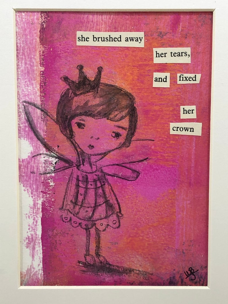 birthday gift gift under 50 for girls room nursery art one of a kind original art Pouty Princess mixed media collage baby shower gift