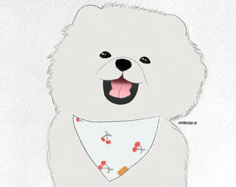 Custom digital dog portrait l chalky style Doodle Pup Co