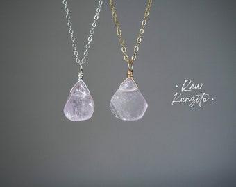 Kunzite Jewelry Chakra Jewelry KUNZITE NECKLACE Gift for Mom Raw Kunzite Stone Necklace Crystal Healing Necklace Silver or Gold