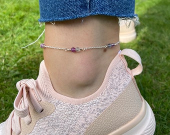Goldstone Cube and Sphere Anklet