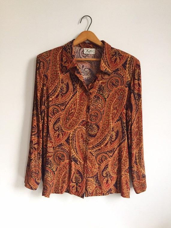 Vintage Paisley Button Up Blouse Shirt