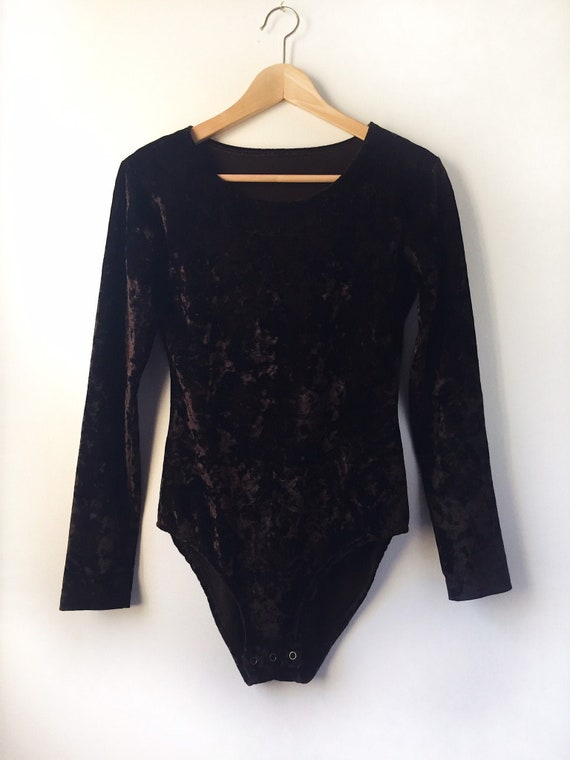 90s Crushed Velvet Bodysuit - deep chocolate brown