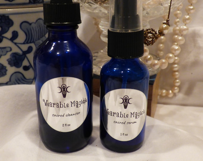 Sacred Facial Duo - Oil Cleanser & Moisturizer - Blessed Under the Full Moon, Handcrafted, Organic, Magick - FREE SHIPPING in US