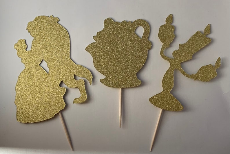Princess Decoration Beauty And The Beast Cupcake Toppers For Birthday Party Double Sided Glitter Cardstock Set of 12