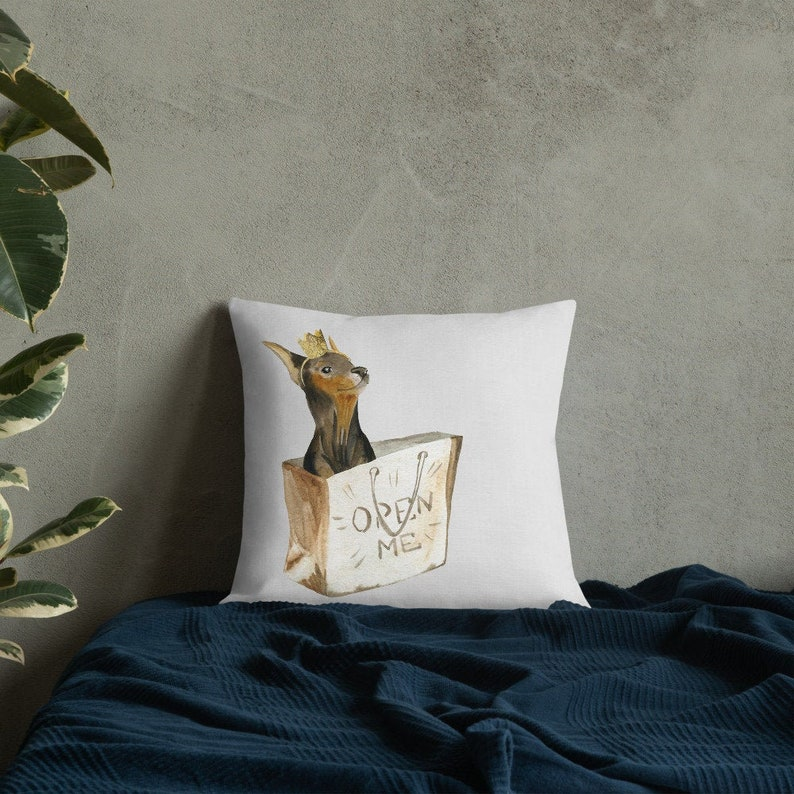 Doberman Puppy Dog With Crown Decorative Premium Pillow  Grey image 0