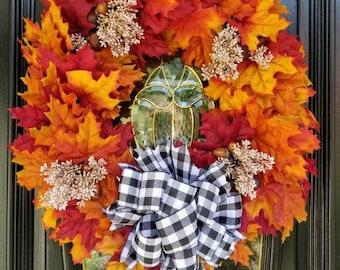 Fall Grapevine Wreath, Maple Leaves Wreath, Large Wreath, Front Door Wreath, Harvest Wreath, Buffalo Plaid Bow, Acorns, Berry Spray