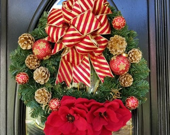 Holiday Christmas Wreath, Red Magnolia Flowers, Wreath for Front Door, Red and Gold Wreath, Red and Gold Ornaments, Red and Gold Bow