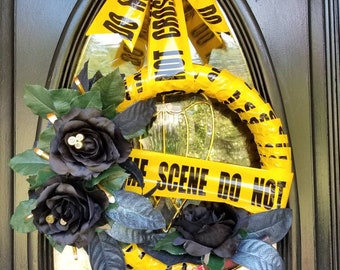 Murder Mystery and Makeup, True Crime, Halloween Wreath, Crime Scene Tape, Black Roses, Croton Leaves, Bullet Casings, Makeup Brushes